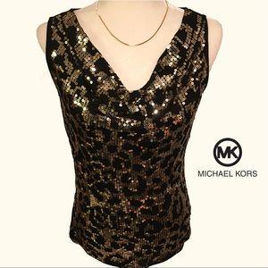 MICHAEL KORS Gold Sequin Cowl Neck Black Tank Top